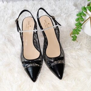 Kate Spade Slighback Lace Patent Pointed Toe Pumps